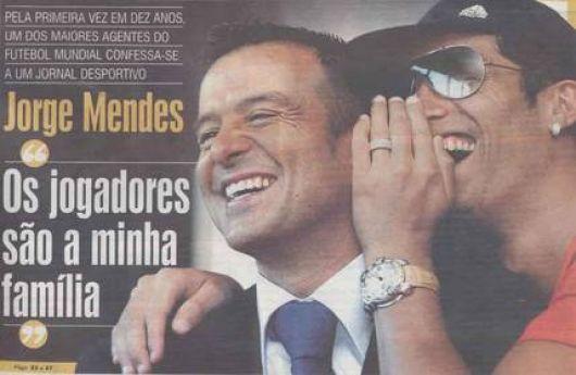Jorge Mendes, dueño de 10% de Di María, representante de Cristiano Ronaldo y Mourinho