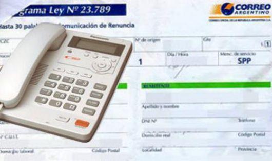 Telefonograma para notificar inasistencias