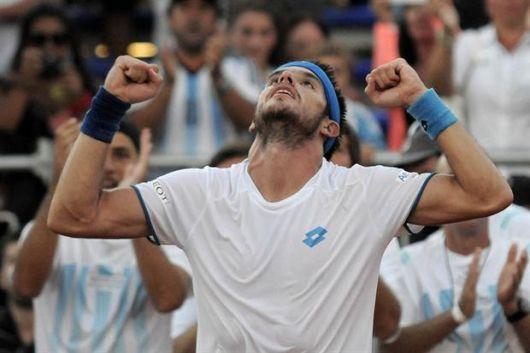 <p>Leo Mayer gan&oacute; el primer punto de Copa Davis</p>