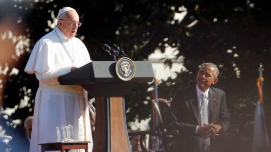 <p>&nbsp;El Papa pidi&oacute; a Estados Unidos trabajar por la paz en el mundo</p>