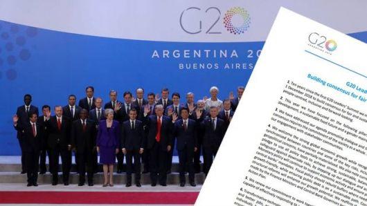 <p>G20: puntos clave de un documento final marcado por una guerra comercial&nbsp;</p>